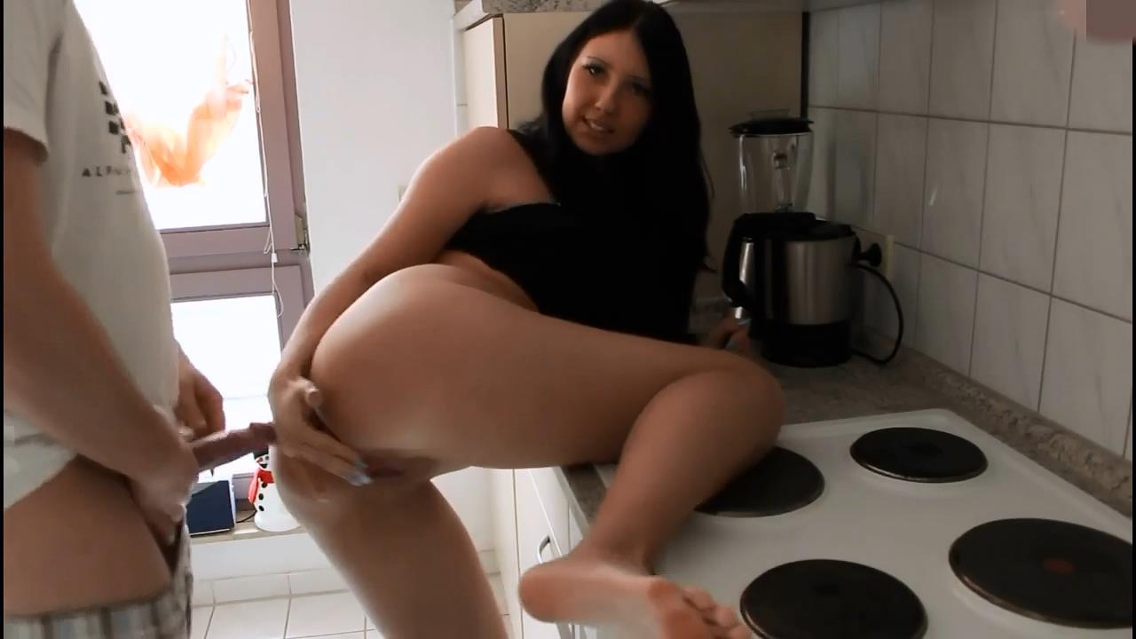 German brunette dorm fuck at kitchen